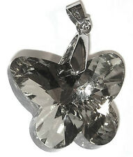 PENDANT/NECKLACE Smoke Gray Glass Crystal PRETTY BUTTERFLY