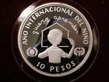 1982 Dominican Republic Large Proof Silver 10 pesos Internat.Year of the Child