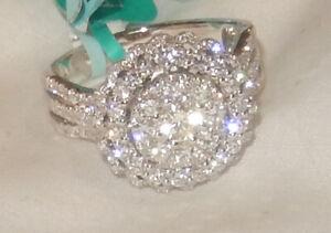 EFFY Diamond Cluster 14k White Gold Ring, 1.29 tcw., Size 7, NWT