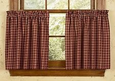 "Country Primitive Burgundy Sturbridge Plaid Tier Curtains 36"" Wine Cottage Cabin"