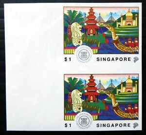 SINGAPORE ASEAN 25th Anniv RARE Imperf Marginal Pair DG390