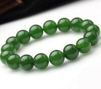 12 mm 100/% Vert Naturel un JADE JADEITE Round Gemstone Beads Bracelet Bangle