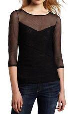 BCBG MAXAZRIA AMORA Black Mesh 3/4 Sleeves Blouse Top Size XXS $168