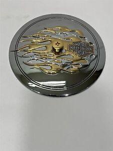 Harley-Davidson Air cleaner Trim 29415-99 Gold & Chrome Flames
