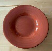 "Sausalito Spice Pottery Barn Salad Plate Terracotta Handpainted Rim 10"" DISCTND"