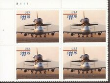 US Stamp 1998 $11.75 Piggyback Space Shuttle 4 Stamp Plate Block #3262
