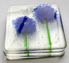Blue Allium Flower Glass Coasters x 4 - Made to Order, Birthday, mum, garden