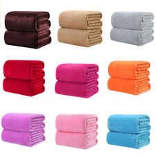 Hot Super Soft Solid Warm Micro Plush Fleece Throw Blanket Rug Sofa Beddin Zccj