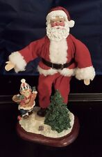 """10"""" Santa Clause Figurine Bendable Posable Boy playing trumpet Christmas Tree"""