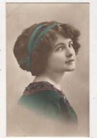 Girl With Green Dress & Headband Vintage Glamour RPPC Postcard Postcard US075