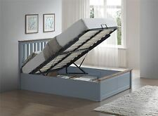Phoenix Wood Ottoman Bed Frame Gas Lift Storage Double 4FT6 Stone Grey Oak Solid