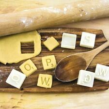 Official Retro Scrabble Game Letters Novelty Cookie Cutters in Gift Tin Box