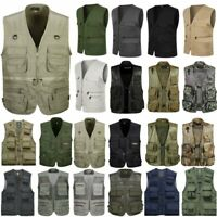 Mens Multi Pockets Photographer Fishing Waistcoat Outdoor Hiking Vest Jacket Top
