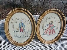 GEORGE AND MARY WASHINGTON VINTAGE NEEDLEPOINT OVAL FRAME OVAL PICTURE FRAME