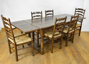 Stunning Farmhouse oak extending refectory dining table and 6 ladderback chairs