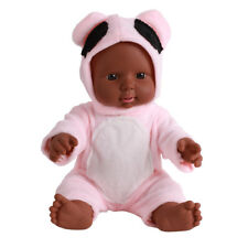 30cm African Baby Dolls Male Lifelike Doll Toy Hugging Boy in Pink Clothes