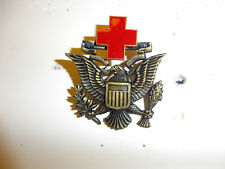 0194 WW2 US ARC American Red Cross Man's Hat Badge - Eagle R22A