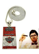 MENS ICED OUT HIPHOP SILVER SWISHER SWEETS CIGARILLOS PENDANT BOX CHAIN NECKLACE