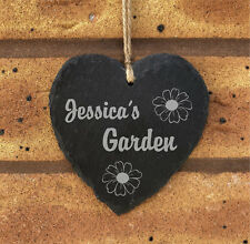 Personalised Rustic Hanging Heart Slate Garden Plaque Sign - Any Name