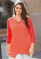 Sheego Estilo Camiseta con puntas Camisa Blusa Verano Coral Talla 40-50 NUEVO