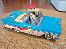 ALPS MERRY DUCK 1958 FORD FAIRLANE CONVERTIBLE D-123 TIN LITHO FRICTION TOY