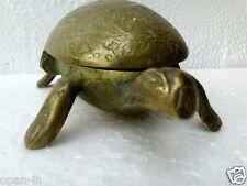 Brass Turtle Tortoise Vintage Trinket Box Ashtray Lid Hinged Antique Diwali