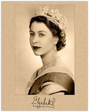 QUEEN ELIZABETH II Autograph Photograph Young Quality Restoration 8x10 RP