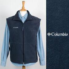 MENS COLUMBIA BLUE FLEECE GILET BODYWARMER ZIP NECK WARM HIKING CAMPING L
