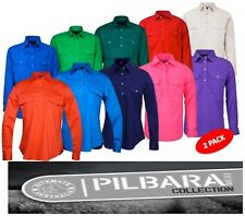 2 PACK - RITEMATE PILBARA - WOMENS- CLOSED FRONT LONG SLEEVE WORK SHIRT -RM300CF