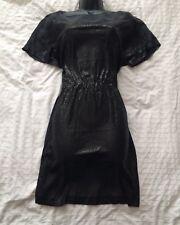 (#2100) WHISTLES Lovely Charcoal  Black Silk/Sequin Shift Dress Size 12 UK