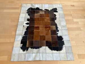 New Cowhide Rug Leather. Animal Skin Patchwork Carpet. Size : 3 ft x 4 ft