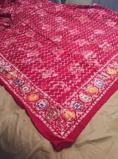 """Vintage Hand-Dyed KING 100x85"""" Bohemian Indian Throw/Tapestry Red"""