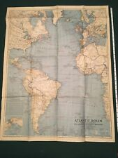 ORIGINAL 1939-07 JULY National Geographic MAP SUPPLEMENT: ATLANTIC OCEAN