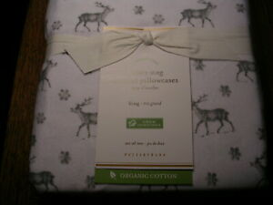 POTTERYBARN SNOWY STAG FLANNEL PILLOWCASES KING PAIR 100% ORGANIC COTTON NWTAGS