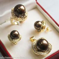 10mm &14mm Chocolate South sea Shell Pearl Earrings Ring Necklace Pendant Set