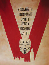 V for Vendetta 28x16 oil painting not a Poster, Framing available. Alan Moore.