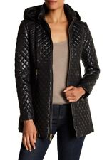 NWT Via Spiga black Diamond-Quilted Hooded Jacket puffer coat women S small $209