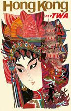 Vintage David Klein TWA Poster Hong Kong China Mid Century Modern