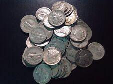10c Face Mercury Dime 90% Silver Circulated Us Coins From Roll 1 Bid= 1 Dime.