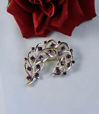 Vintage PUrple  Rhinestone  Gold tone   Pin Brooch CAT RESCUE