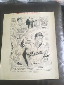 HANK AARON.PHIL BISSELL SIGNED ART 1970 ALL STAR GAME BOOG POWELL. VOTE SCANDAL