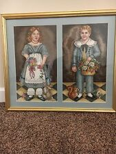 "Original Needle Point Artwork Girl and Boy 22""H x 25.5""W in Gold Wooden Frame"