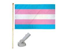 New listing 5' Wooden Flag Pole Kit W/ Nylon White Bracket 3x5 Transgender Plain Poly Flag