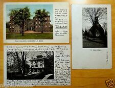 3 Antique Postcards ALL GREENFIELD, MA Massachusetts ALL PRIVATE MAILING CARDS