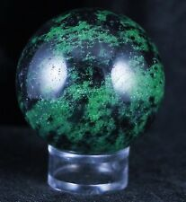 NATURAL RUBY IN ZOISITE SPHERE GEM STONE CRYSTAL BALL HEALING FREE STAND 47MM