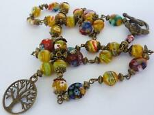 Womens Tree of Life Vintage Style Millefiori Glass Bead Necklace