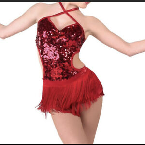 A Wish Come True Red Sequin Tap Jazz Dance Shake it Off Costume Med Child