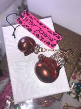 Betsey Johnson Necklace BOXING GLOVES Red Gold Enamel Crystal Fight Gift Box
