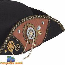 Steampunk Tricorn Hat Male Cogs Brass Historical Mens Fancy Dress Accessory