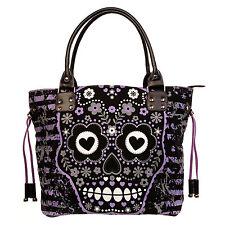 Prohibido Negro Púrpura Azúcar Calavera Lona Bolso de Hombro Bolso de mano Gótico Emo Punk